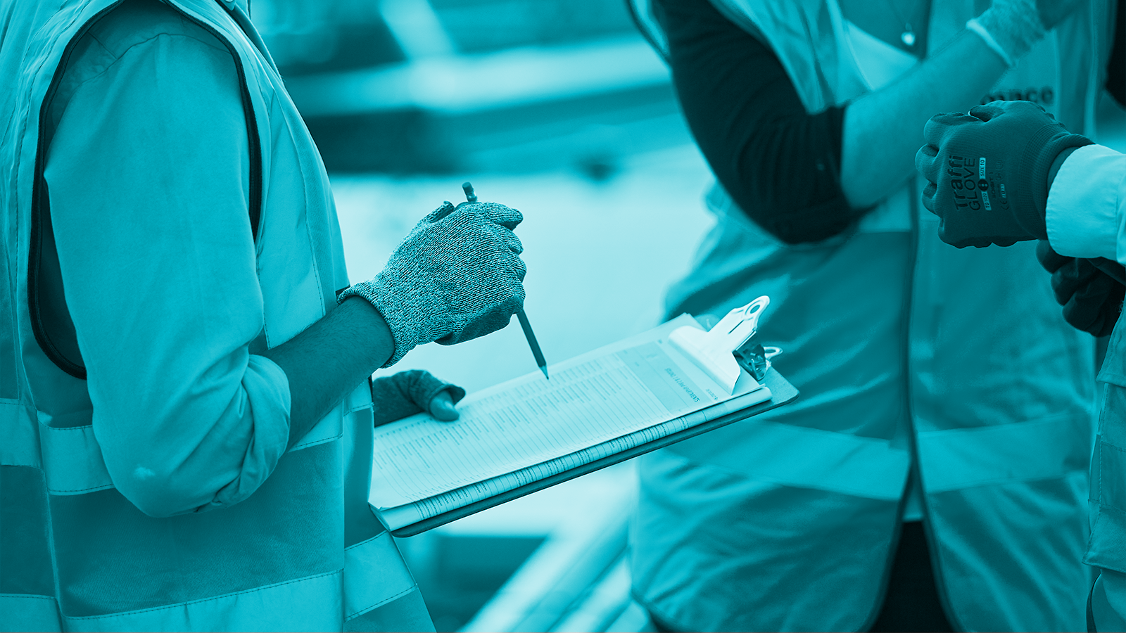 Workers with  a clipboard with a blue filter